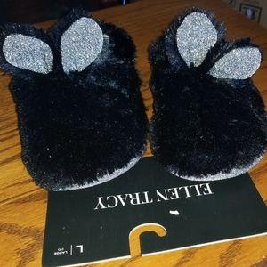NWT Ellen Tracy Black Cat Ear Fuzzy Slippers L (9)